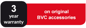 3 years warranty on original BVC accessories