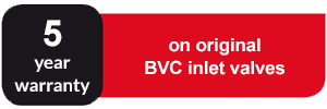 5 year warranty on original BVC inlet valves