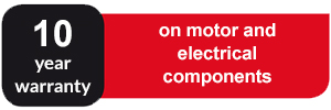 10 year warranty on motor and electrical components