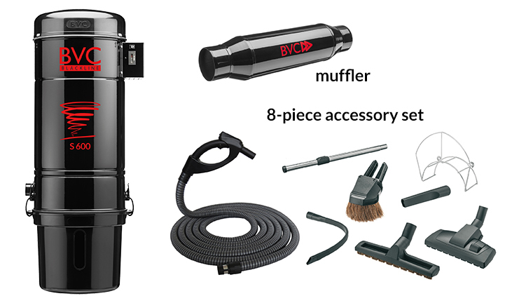 central vacuum package with hose